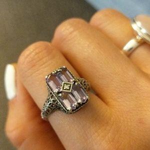 Vintage antique sterling amethyst ring